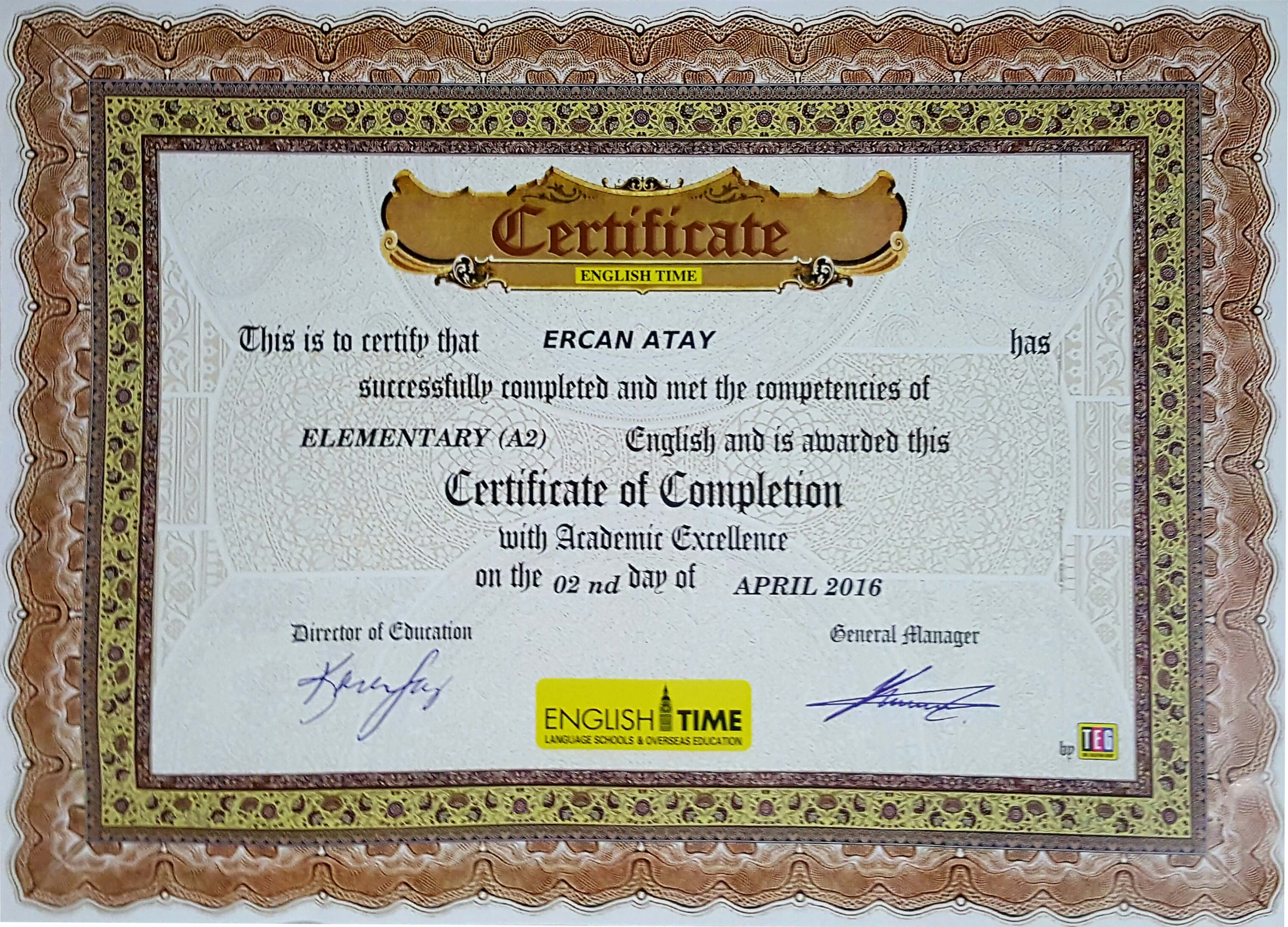 Certificate of Completion - Elementary (A2)  - English Time
