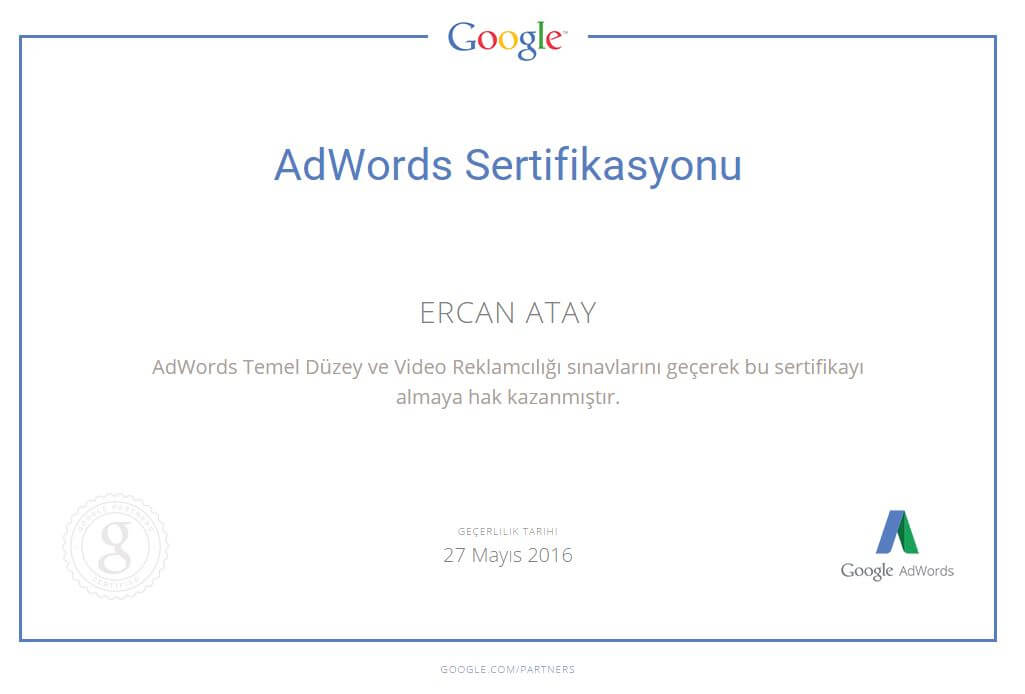 Video Advertising certified - AdWords Fundamentals and Video Advertising exams.