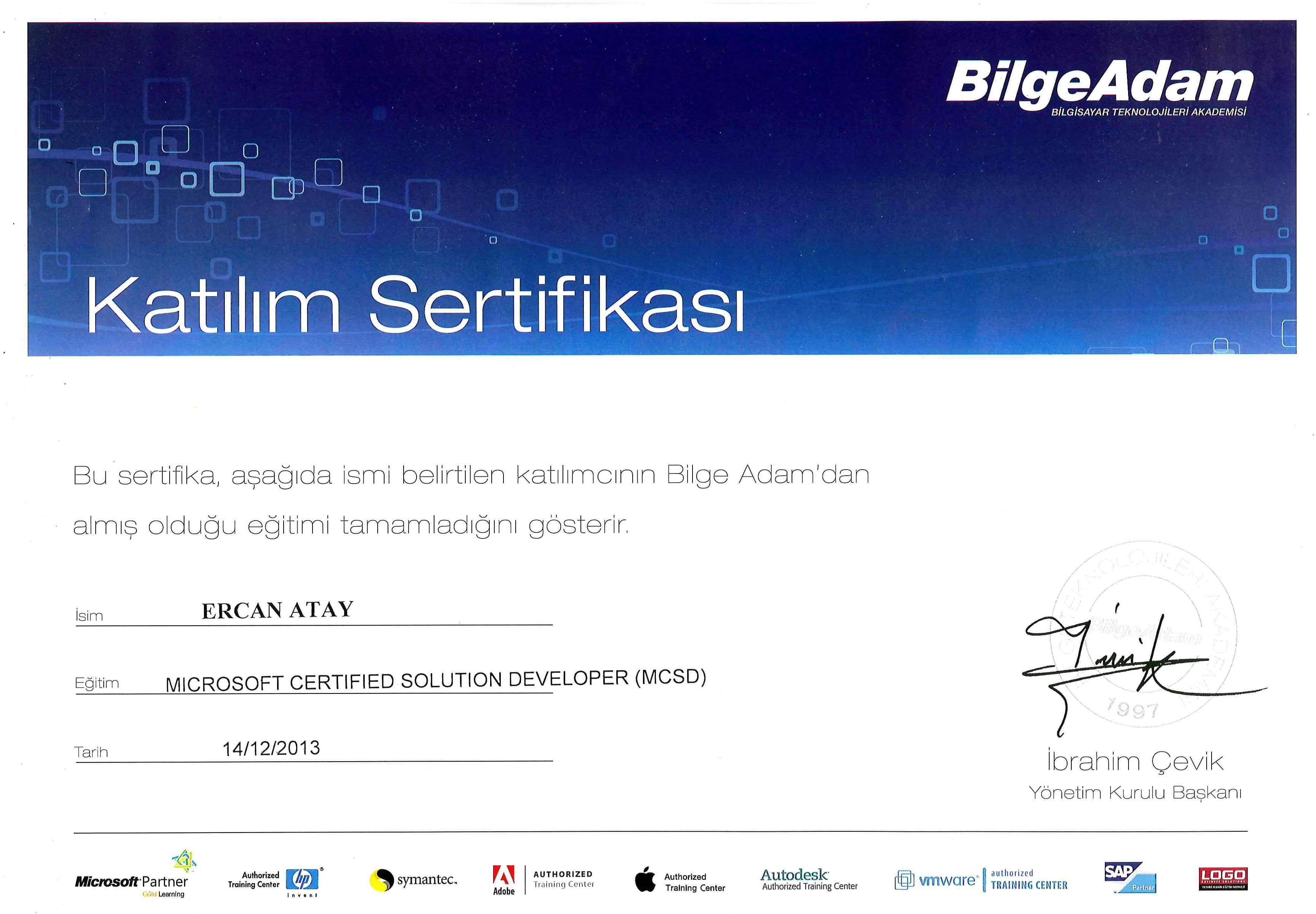 Microsoft Certified Solutions Developer Mcsd Bilge Adam Katlm
